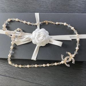 Chanel resin glass pearl necklace gold authentic